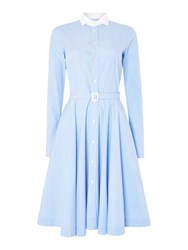 Polo Ralph Lauren Dori Long Sleeve Shirt Dress With White Collar Blue