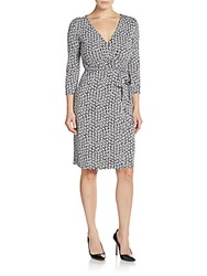 Diane Von Furstenberg New Julian Silk Jersey Wrap Dress Black White