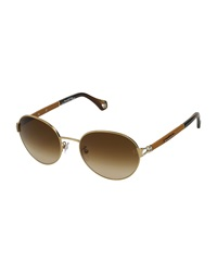 Ermenegildo Zegna Round Vintage Leather Sunglasses Brown