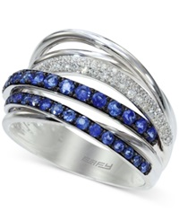 Effy Collection Royale Bleu By Effy Sapphire 3 4 Ct. T.W. And Diamond 1 5 Ct. T.W. Band In 14K White Gold Blue