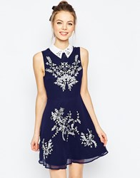 Asos Embroidered Floral Sequin Mini Skater Dress With Collar Navy