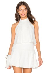 Bobi Black Mixed Chiffon Lace Tank White