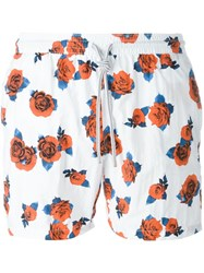 Capricode Rose Print Swim Shorts White
