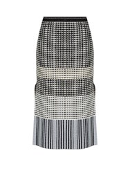 Proenza Schouler Geometric Knit Wool Skirt Black White