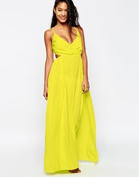 Asos Washed Satin Wrap Maxi Beach Dress Lime Green