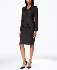 Le Suit Metallic Stripe Jacket Skirt Suit Black