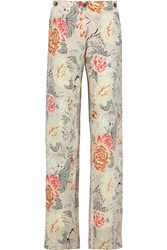 Etro Printed Silk Chiffon Wide Leg Pants White