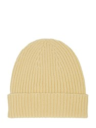 Mr. Start Ribbed Cashmere Beanie Pale Yellow
