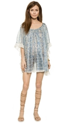 Lotta Stensson Midsummer Ruffle Cover Up Dress White Blue