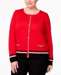 Karen Scott Plus Size Colorblocked Cardigan Only At Macy's New Red Amore Combo