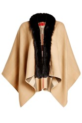 Burberry Shoes And Accessories Merino Wool Cape With Fox Fur Camel