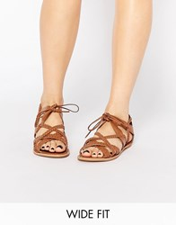 New Look Wide Fit Lace Up Sandal Tan