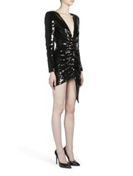 Saint Laurent Sequin Long Sleeve Deep V Neck Cocktail Dress Black