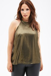 Forever 21 Plus Size Metallic Woven Halter Top Gold