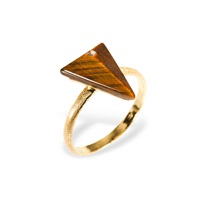 Ona Chan Triangle Ring With Tiger's Eye And Swarovski Gold
