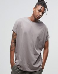 Asos Super Oversized T Shirt With Rolled Sleeve In Gray Battleship Gray