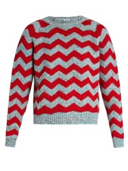 Miu Miu Wool Alpaca And Silk Blend Knit Sweater Red Multi