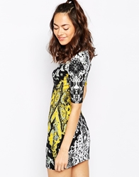Motel Isla Dress In Neon Scale Print Yellow