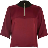 River Island Womens Dark Red Wide Sleeve High Neck Top
