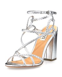 Badgley Mischka Cydney Braided Leather Sandal Silver