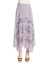 Rebecca Taylor Paisley Trimmed Ruffled Maxi Skirt Purple Multi
