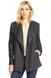 Women's Bcbgmaxazria Leather And Wool Blend Coat