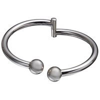 Andea Sterling Silver Ball Clasp Open Bangle Silver