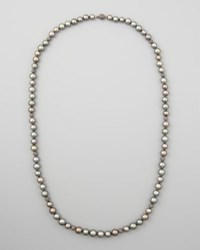 18K Gray South Sea Pearl And Black Diamond Necklace 38 L