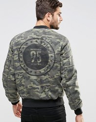 Asos Ma1 Bomber Jacket In Camo With Print Camo Green