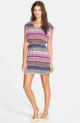 Print Skater Dress Online Only Purple Pink Multi