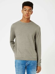 Topman Khaki And Grey Twist Crew Neck Jumper Green