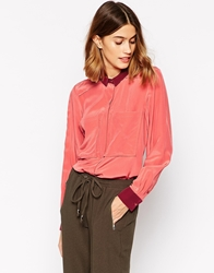 Le Mont St Michel Silk Blouse With Contrast Details Brickburgundy