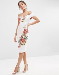 Asos Bardot Off The Shoulder Hitchcock Midi Pencil Dress In Vintage Flowers Multi