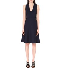Whistles Cross Back Fit And Flare Stretch Knit Dress Navy