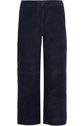 J.Crew Collection Cropped Suede Wide Leg Pants Navy