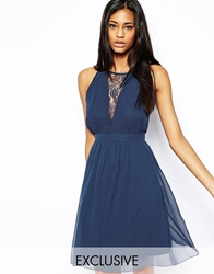 Elise Ryan Skater Dress With Lace Plunge Neck Navy