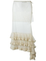 Marques Almeida Marques'almeida Jupe Long Tulle Skirt Nude And Neutrals