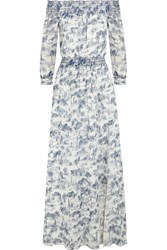 Tory Burch Off The Shoulder Printed Cotton Gauze Maxi Dress Blue