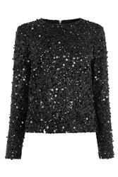 Warehouse Long Sleeve Sequin Top Black