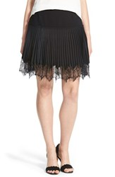 Chelsea 28 Women's Chelsea28 Lace Trim Pleat Miniskirt