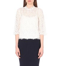 Moandco. High Neck Floral Lace Top Gardenia