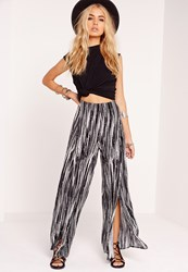 Missguided Crepe Stripe Split Front Palazzo Trousers Multi Multi