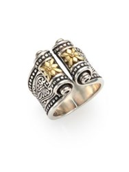 Konstantino Penelope 18K Yellow Gold And Sterling Silver Etched Scroll Ring Silver Gold