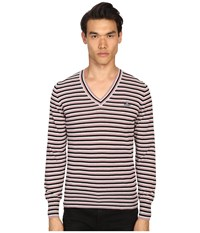Vivienne Westwood Stripe Classic V Neck Sweater Black Grey Pink Stripe Men's Sweater Gray