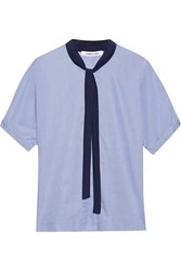 Elizabeth And James Tessa Pussy Bow Cotton Poplin Blouse Blue