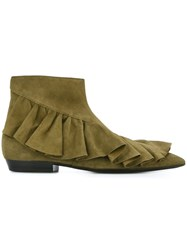J.W.Anderson Ruffle Detail Boots Green