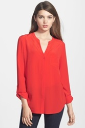 Trouve Silk Blouse Red