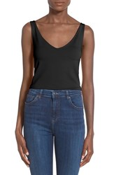 Women's Leith Stretch Knit V Neck Crop Top Black