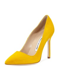 Manolo Blahnik Bb Suede Point Toe Pump Yellow