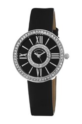 Stuhrling Women's Black Dial Leather Strap Watch No Color